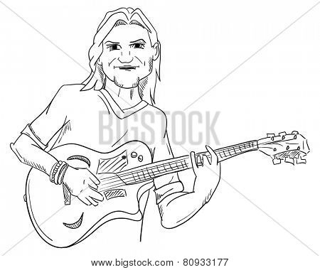 vector - Young man- guitar player - isolated on background
