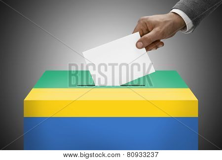 Ballot Box Painted Into National Flag Colors - Gabon