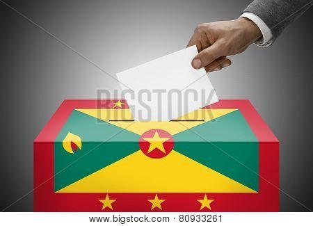 Ballot Box Painted Into National Flag Colors - Grenada