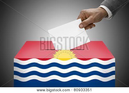 Ballot Box Painted Into National Flag Colors - Kiribati