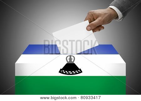 Ballot Box Painted Into National Flag Colors - Lesotho