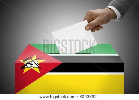 Ballot Box Painted Into National Flag Colors - Mozambique