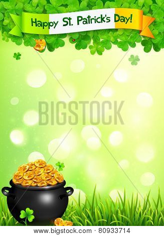 St. Patricks Day leaflet template with pot of gold and clovers on light green background