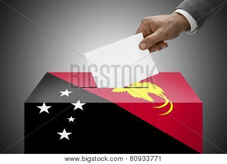 Ballot Box Painted Into National Flag Colors - Papua New Guinea