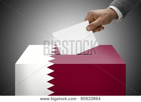 Ballot Box Painted Into National Flag Colors - Qatar