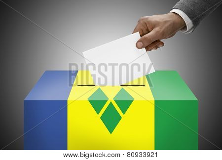 Ballot Box Painted Into National Flag Colors - Saint Vincent And The Grenadines