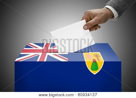 Ballot Box Painted Into National Flag Colors - Turks And Caicos Islands