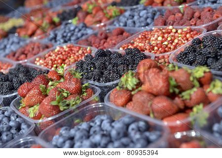 Ripe Berries In A Plastic Container