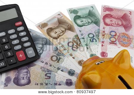 Piggy Bank And Chinese Money (rmb)