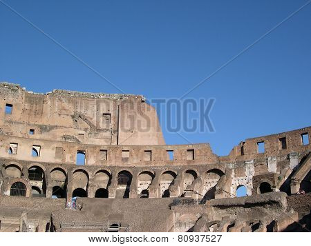 Coliseum in Rome, ancient ruins during fall