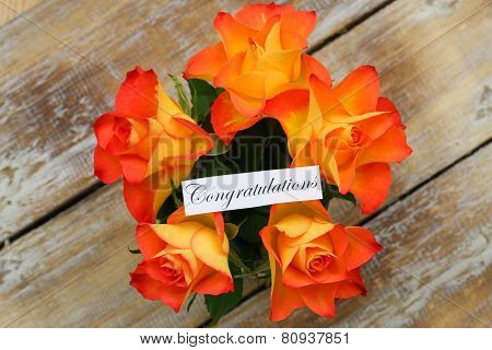Congratulations card with orange roses bouquet