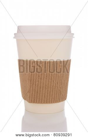 Disposable coffee cup with protective sleeve isolated on white with reflection.