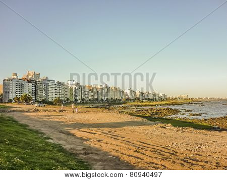 Beach And Buildings Of Montevideo
