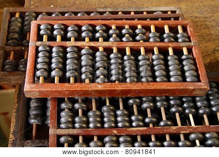 The close view of Chinese abacus