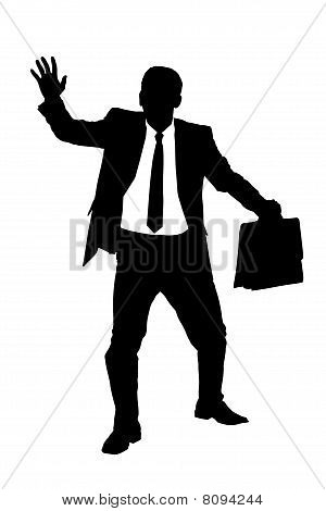 A silhouette of a confused blindfold businessman