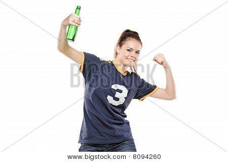 Female sport fan celebrating