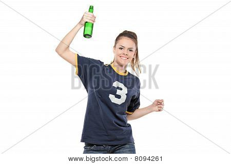 Female sport fan celebrating