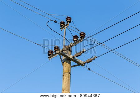 Old Wooden Power Transmission Pole With Wires