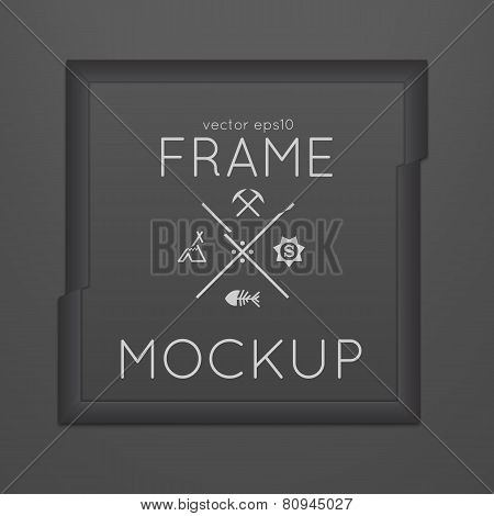 Vector template of square slashed frame with poster, placed in interior.