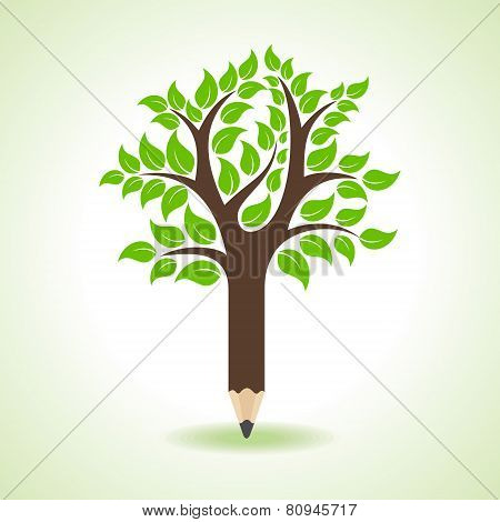 Ecology concept - Pencil make a tree stock vector