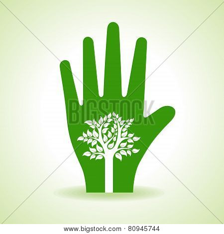 Tree inside the hand- vector illustration