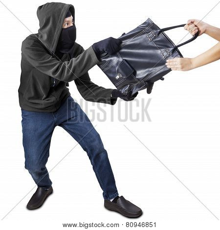 Pickpocket Grabbing Handbag From A Woman