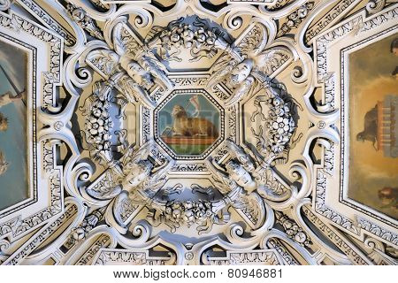 SALZBURG, AUSTRIA - DECEMBER 13:The Lamb og God, fragment of the dome of Salzburg Cathedral on Dec 13, 2014 in Salzburg, Austria. Salzburg Cathedral is renowned for its harmonious Baroque architecture.