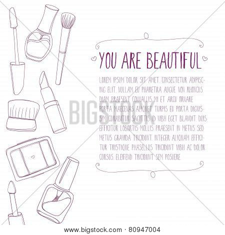 Makeup background with cosmetic tools with copy space.