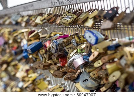Love Lockers Fills The Pont Des Arts In The Center Of Paris.