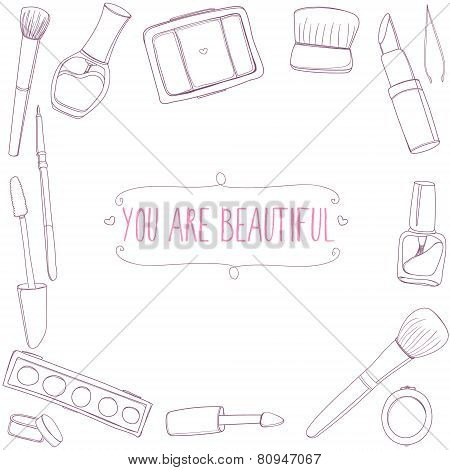 Make up tools frame. Vector background