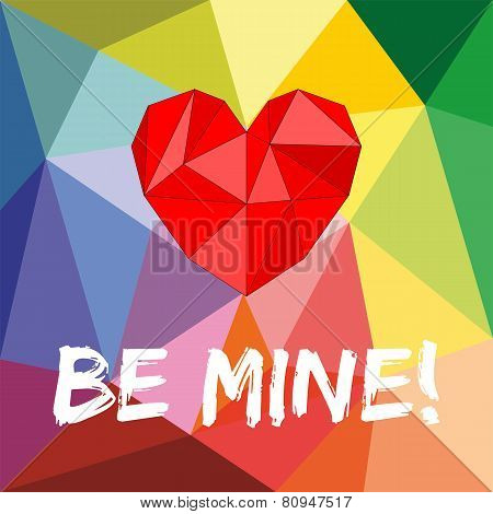 Be mine valentines vector card with heart on wrapping surface background