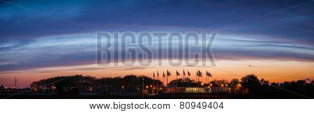 Stunning Blue Hour Over Flag Plaza, New Jersey