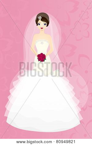 Bride brunette on pink background, vector card for wedding