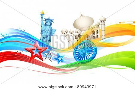 illustration of India-America relationship with monument