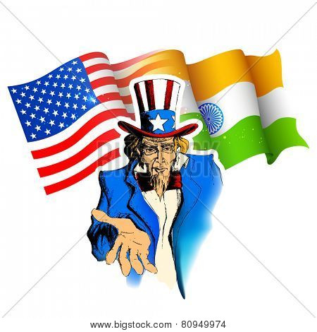illustration of portrait of Uncle Sam showing India-America relationship