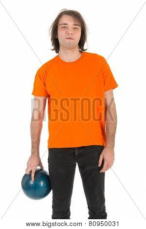 Young Man With Bowling Ball Ready To Throw