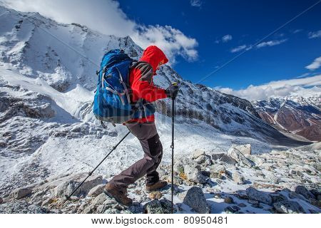 Hiker On The Trek In Himalayas, Manaslu Region, Nepal