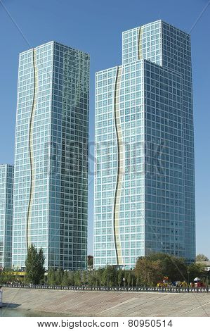 Exterior of the Grand Alatau residential buildings complex in Astana, Kazakhst