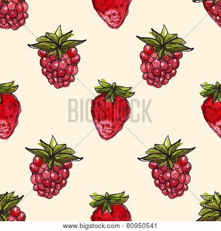 Watercolor background with cherry and raspberry