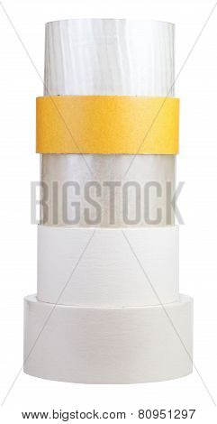 Stack Of Self-stick Tape Rolls Isolated On White