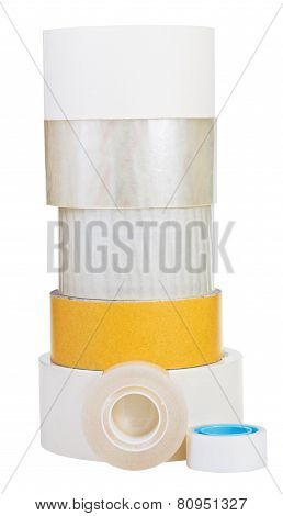 Various Adhesive Tape Rolls Isolated On White