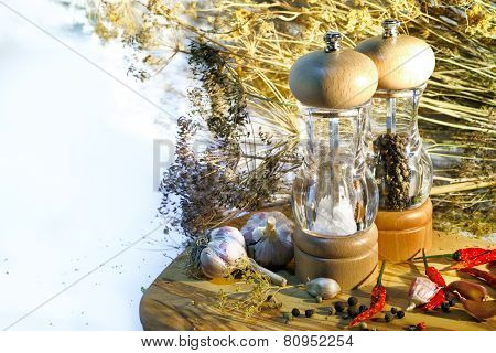 Salt And Pepper Mill With Ingredients Around On Wooden Cutting Board With The Empty Space Place For