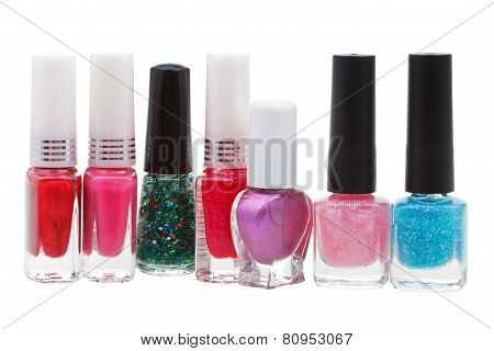 Collection Of Various Nail Polish Isolated On White