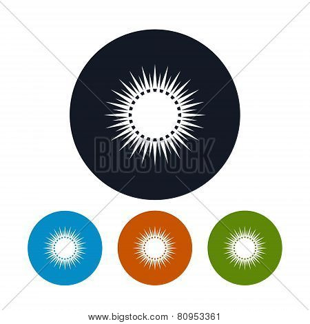 Icon Sun With Rays , Vector Illustration