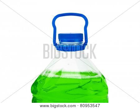 Bottle with green liquid isolated on white background