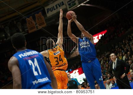 VALENCIA, SPAIN - JANUARY 21: Hayes during Eurocup match between Valencia Basket Club and CSU Asesoft at Fonteta Stadium on January 21, 2015 in Valencia, Spain