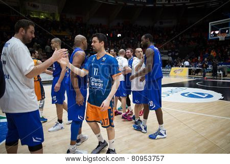 VALENCIA, SPAIN - JANUARY 21: All players during Eurocup match between Valencia Basket Club and CSU Asesoft at Fonteta Stadium on January 21, 2015 in Valencia, Spain