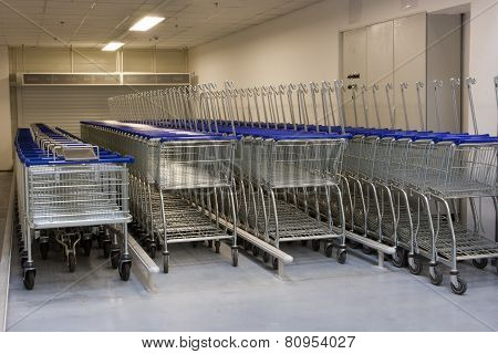 Row Of The Shopping Carts In The Supermarket