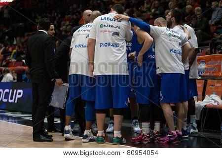 VALENCIA, SPAIN - JANUARY 21: Asesoft Ploiesti team during Eurocup match between Valencia Basket Club and CSU Asesoft at Fonteta Stadium on January 21, 2015 in Valencia, Spain