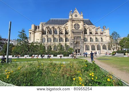 Saint Eustache Church From The Nelson Mandela Garden, Paris, France